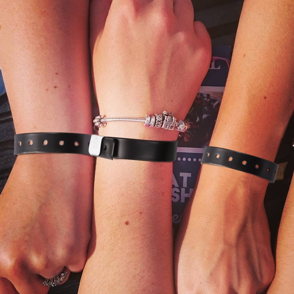Ouchan Black Plastic Wristbands - 100 Pack Wristbands for Events Club Music Meeting Party Festival by OUCHAN (Image #5)