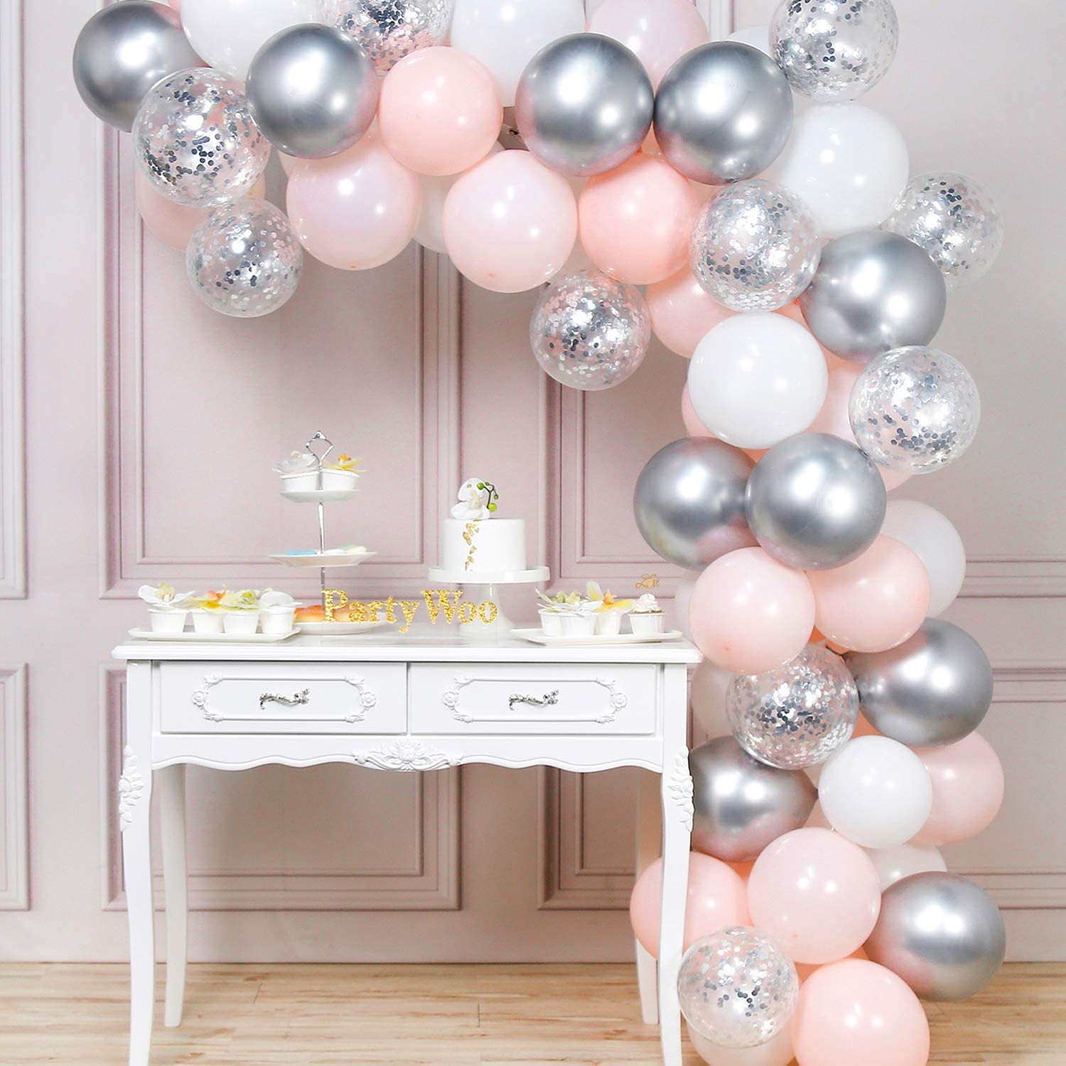 PartyWoo Pink Balloons, Pink Silver and White Balloons Pack of Pale Pink Latex Balloons, White Balloons, Metallic Balloons, Confetti Balloons for Pink Silver Birthday, Pink and Silver Wedding Party