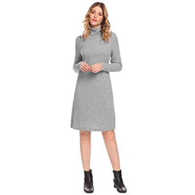 ACEVOG Women's Stretchy Warm High Neck Long Sleeve Midi Knit Sweater Dress