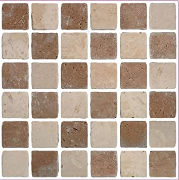 Pack Of 10 Brown Travertine Stone Effect Mosaic Tile Transfers Stickers  Bathroom Kitchen Peel And Stick Part 25
