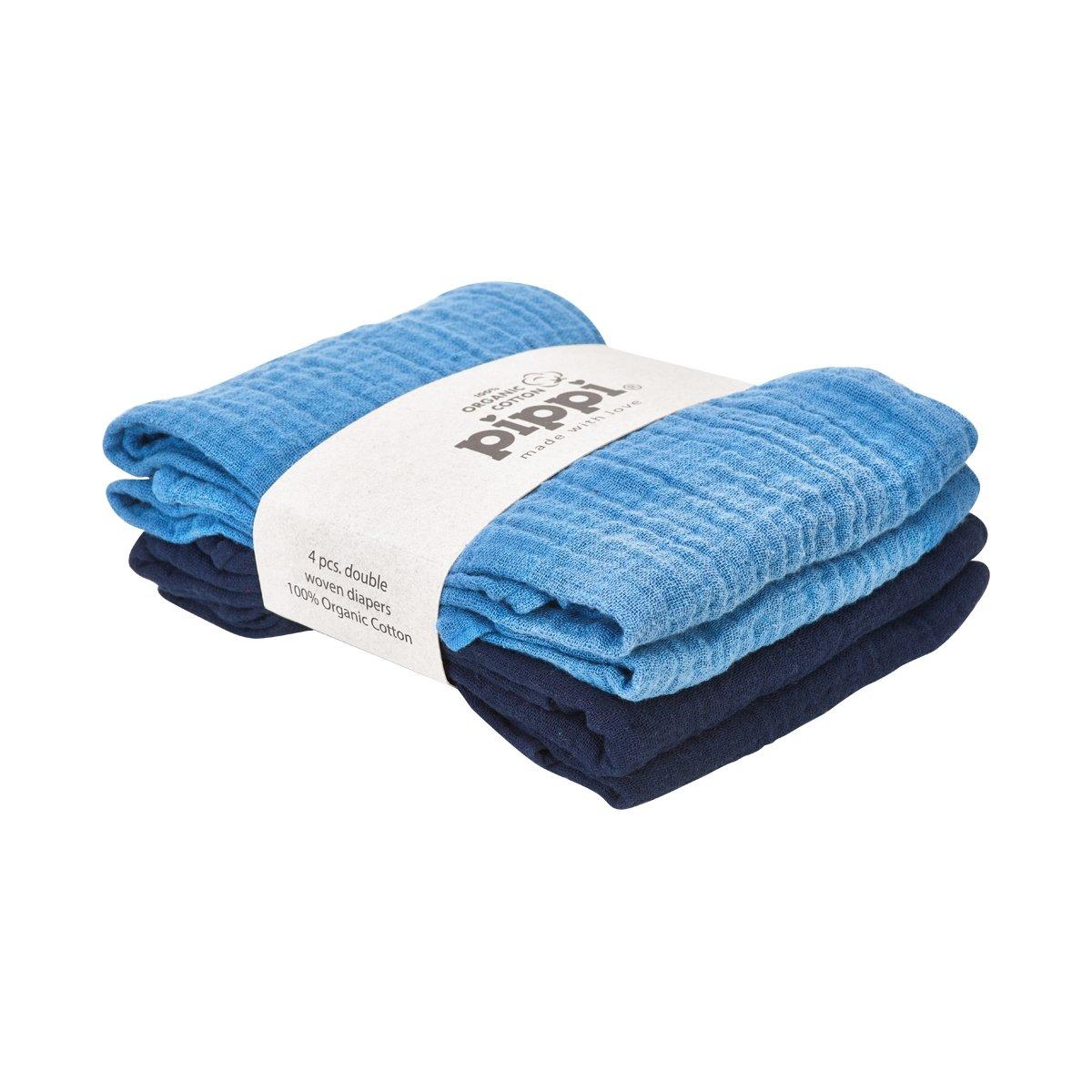 Pippi Stoffwindeln 4er Pack Mullwindeln Spuckt/ücher Organic Bio Baumwolle blau//dunkelblau