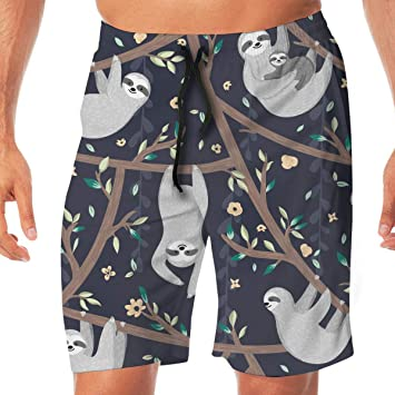 Cute Funny Sloth Pattern Mens Boardshorts Dry Fit Bathing Suit