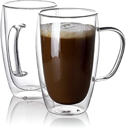 Kitchen & Dining 1Pcs Insulated Glass Coffee Cups 5oz Large