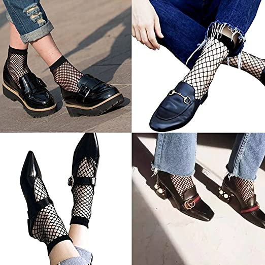 fe8a53ca1660b Amazon.com: 2 Pairs Women's Fishnet Ankle Socks-The Most Fashionable  Outfits Skills For Fishnet Socks: Clothing