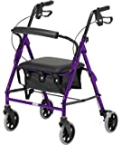 Days Lightweight Folding Four Wheel Rollator Walker with Padded Seat, Lockable Brakes, Ergonomic Handles, and Carry Bag, Limited Mobility Aid, Purple, X-Small, (Eligible for VAT relief in the UK)