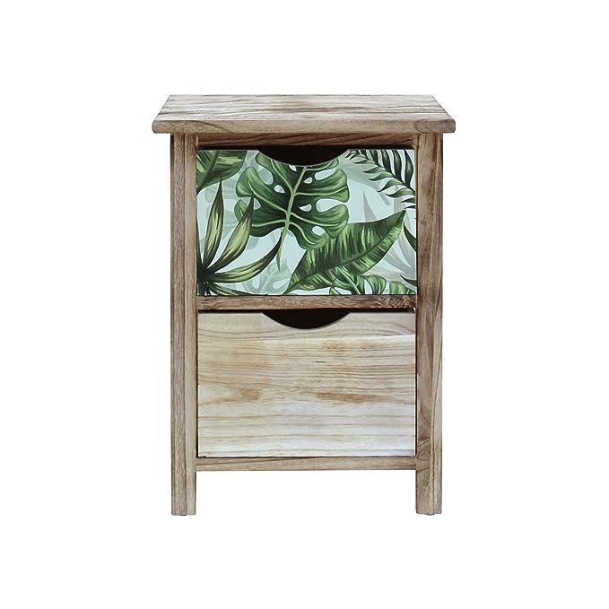 Rebecca Mobili Mueble Cajonera Organizador Madera Marrón Claro Verde Design Natural Habitación Comedor - 46x34x27 (A x AN x FON) - Art. RE6130: Amazon.es: ...