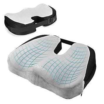Cojin Coxis de Espuma Memoria Portátil para Hemorroides, Hernias, Cojines para espalderas y sillas