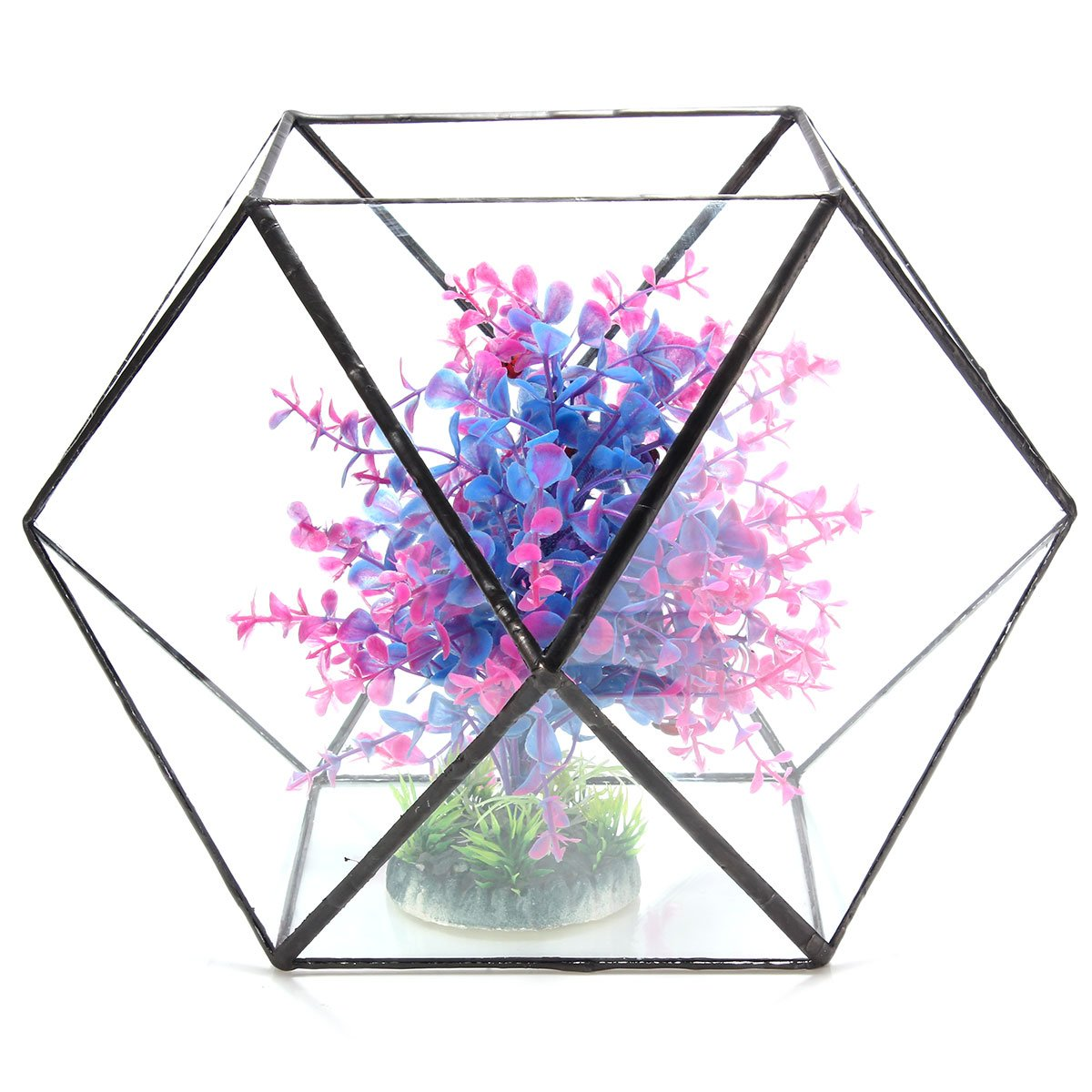 BuyYourWish Polygon Greenhouse Glass Terrarium DIY Micro Landscape Succulent Plants Flower Pot One Piece by BuyYourWish