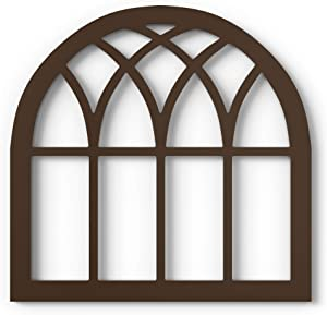 Barnyard Designs Rustic Wood Cathedral Arch Window Frame, Decorative Arched Window Pane Wall Art, Vintage Farmhouse Country Decor, Dark Brown, 30