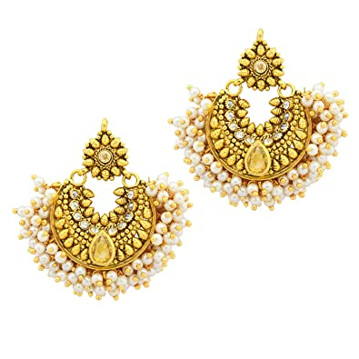 63c8bc2a3 Amazon.com: Ramleela Bollywood Designer Gold Plated Premium Earring ...