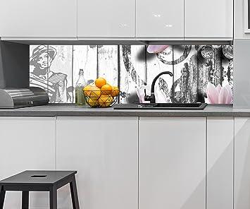 Cocina Pared Trasera Música - Flores de Estilo Rosa Design M0547 210 x 60 cm (W x ...