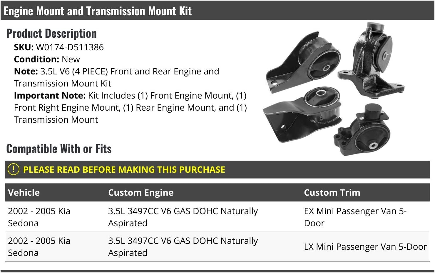 4 Piece Engine Mount and Transmission Mount Kit Compatible with 2002-2005 Kia Sedona 3.5L V6