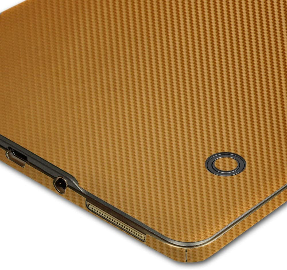 Skinomi Carbon Fiber Gold Skin+Clear Screen Protect For Samsung Galaxy Tab S 8.4