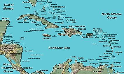 Amazoncom Home Comforts Laminated Map Domincan Rebuplic Map Near - Us-caribbean-map