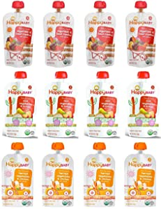 Happy Baby Organic Baby Food Stage 3 Hearty Meals Variety Pack, 4 oz Pouches, 12-Count, Chicken, Turkey and Beef w/ Vegetable and Quinoa