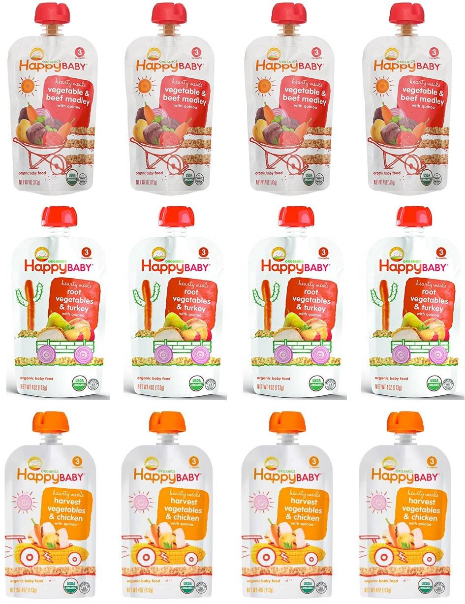 Happy Baby Organic Baby Food Stage 3 Hearty Meals Variety Pack, 4 oz Pouches, 12-Count, Chicken, Turkey and Beef w/Vegetable and Quinoa