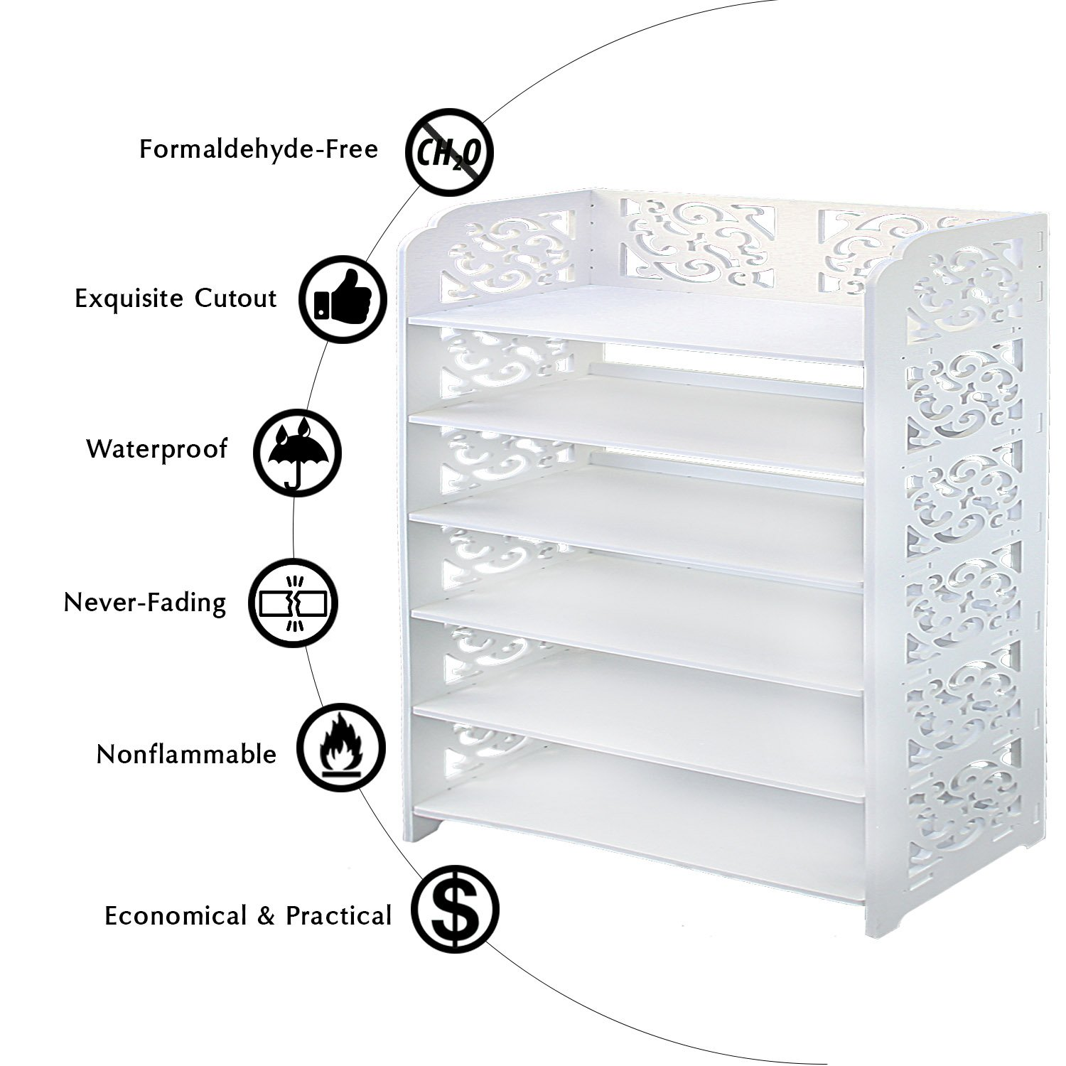 DL furniture - WPC Multipurpose Shoe Rack & Book Shelf L23.5'' x W9.5'' x H38'' 6 Tier Tall & Wide, Environmental Friendly Material | White… by DL furniture (Image #5)