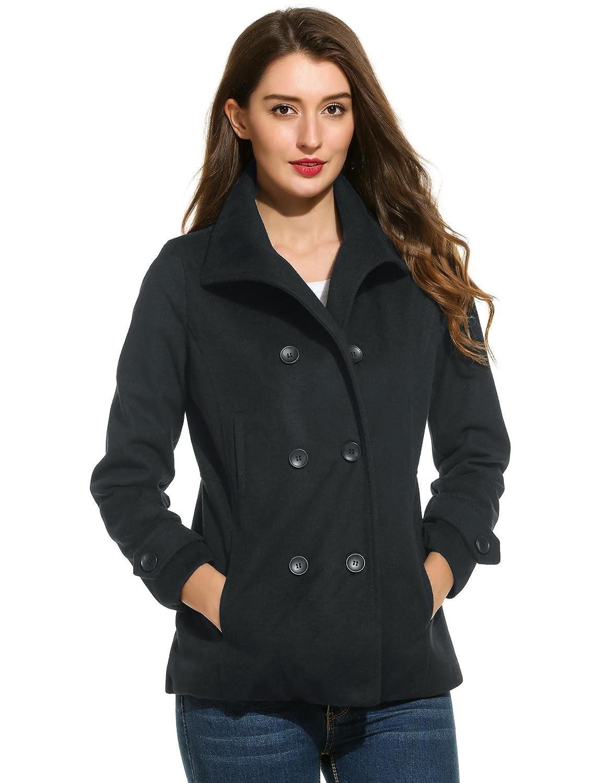 Corgy Women Casual Turtleneck Long Sleeve Solid Short Double Breasted Woolen Coat