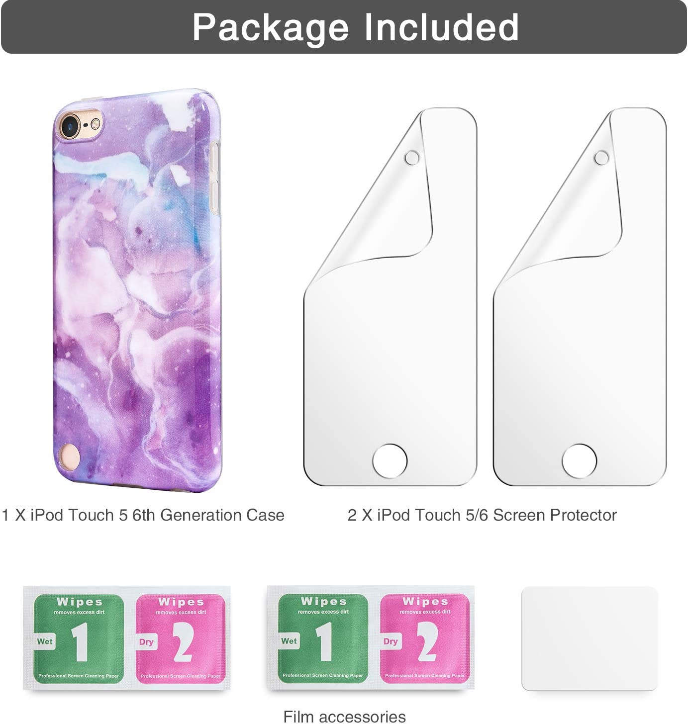 Slim FIT Anti-Scratch Flexible Soft TPU Bumper Protective Case iPod Touch 5//6th Generation Case IDWELL iPod Touch 7th Generation Case with 2 Screen Protectors Glitter Pink Marble Plating