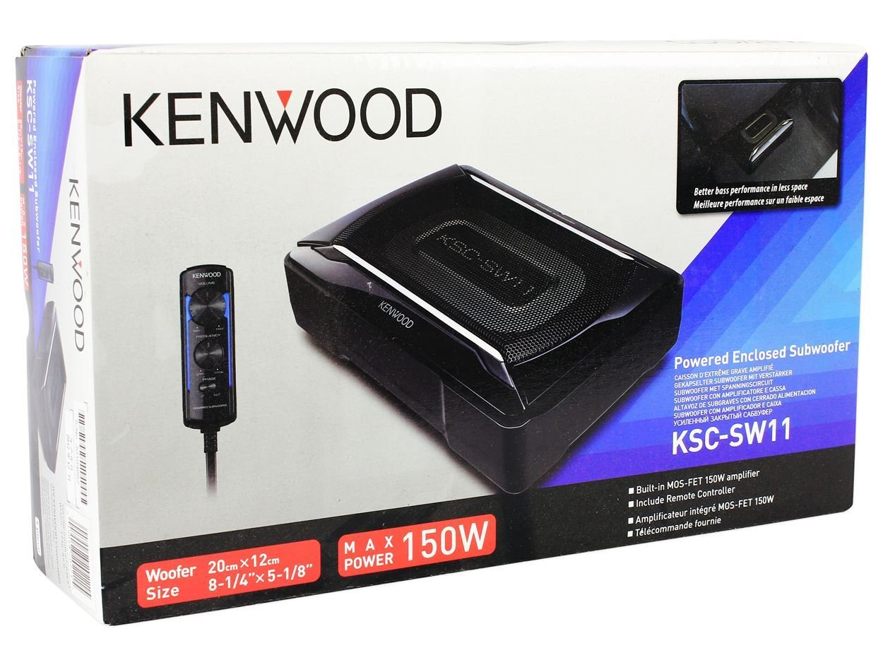 Amazon.com: Kenwood KSC-SW11 150 Watt Compact/Slim Powered Subwoofer w/Bass Remote+Wire Kit: Car Electronics