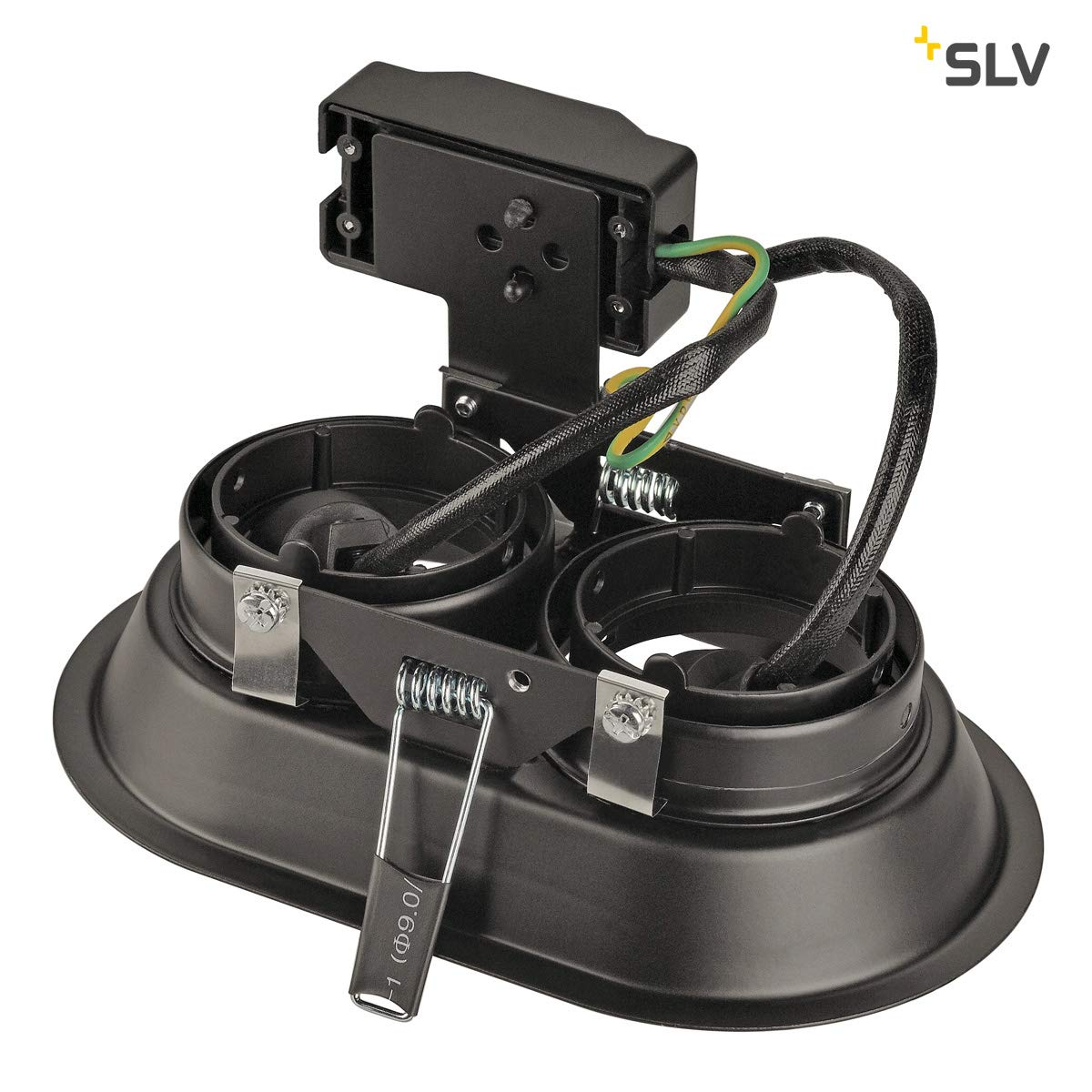 SLV LED Deckenstrahler HORN-O Einbau-Leuchte GU10 QPAR51 Deckenstrahler schwarz Fluter EEK E-A++ LED Spots 2-flammig rund Deckenleuchten Dimmbare Einbau-Spots zur Beleuchtung innen