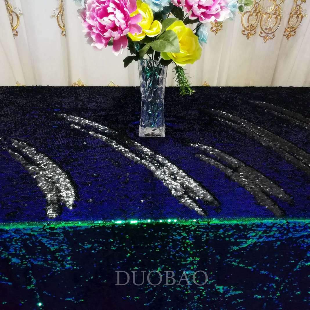 DUOBAO Sequin Tablecloth 60x84-Inch Black Mermaid Sequin Fabric Green to Black Glitter Tablecloth Reversible tablecloths for Rectangle Tables~0516 by DUOBAO (Image #4)