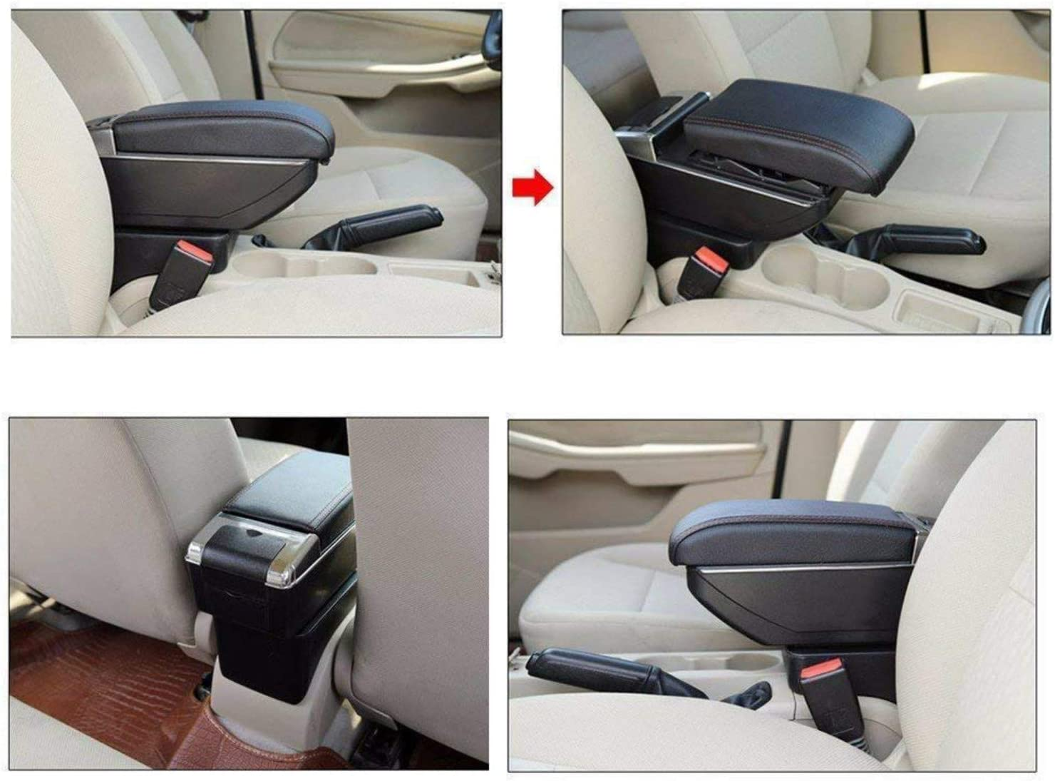 For 2010-2017 N issan NV200 Luxury Car Armrest Center Console Accessories Arm Rest Built-in LED Light black