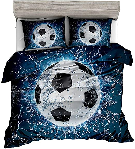 Guidear Blue Flame Soccer Bedding Set for Children Boys,3D Printed Football Quilt Cover Set with 2 Pillowcases,Fire and Ice Duvet Cover with Zipper Closure Queen Size 90 X 90