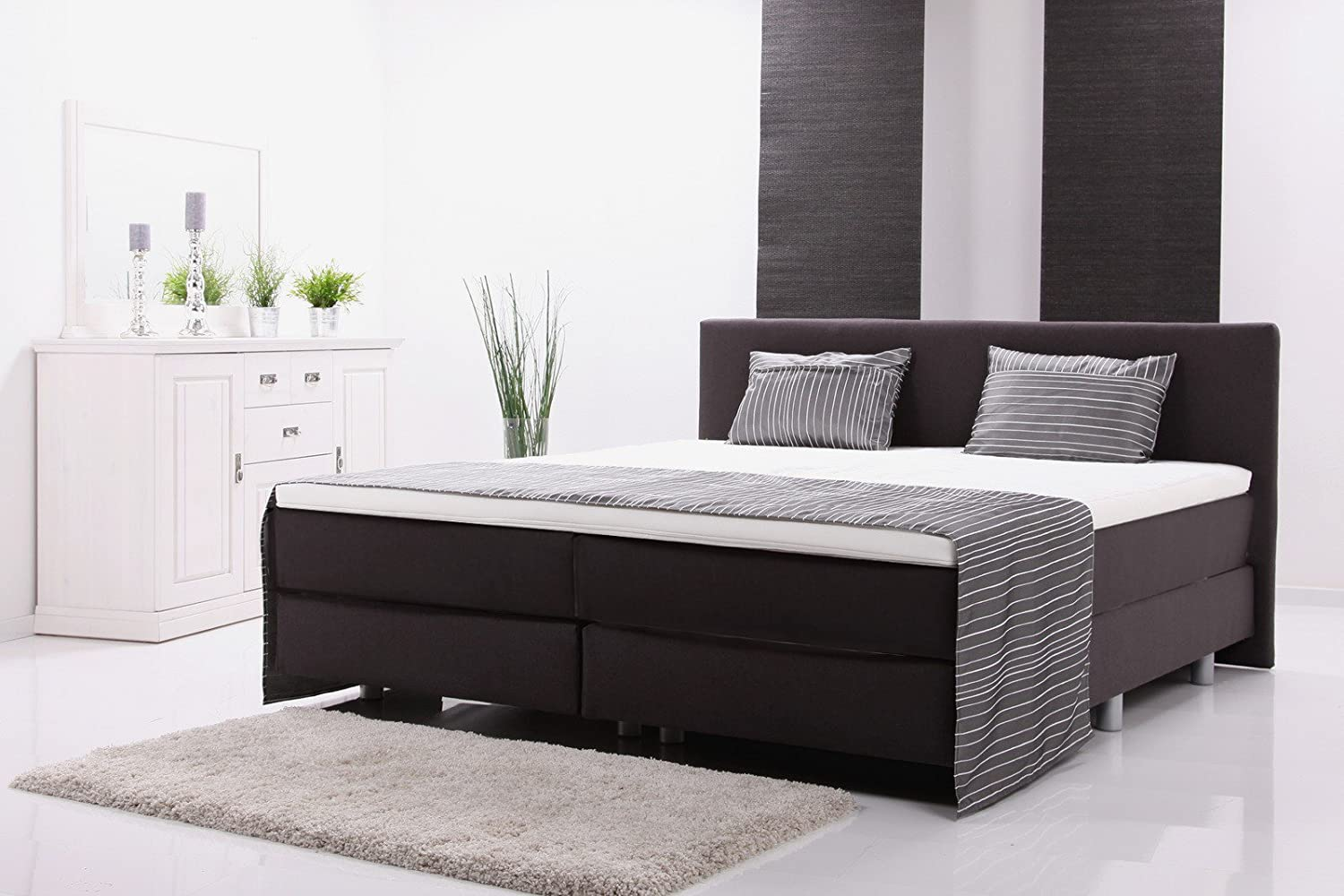 boxspringbett hotelbett polsterbett 200x200cm h rtegrad 3. Black Bedroom Furniture Sets. Home Design Ideas