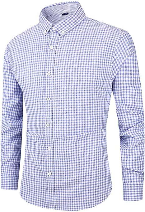 jfhrfged Camisa de Hombre Elegante Casual Fit Soft Slim de Manga Larga y botón Business Top: Amazon.es: Deportes y aire libre