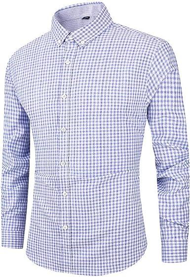 Camisas Hombres, Blusa de Botones para Hombres Casual de Manga Larga A Cuadros OtoñO Turn-Down Collar Tops Camisas Casual Moda Negocio Ocio ImpresióN A Cuadros Camisa de Manga Larga Tops Blusa: Amazon.es: