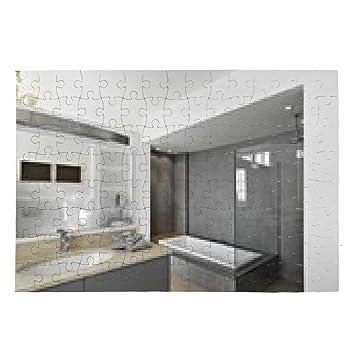 Puzzle salle de bains moderne avec baignoire et douche ...