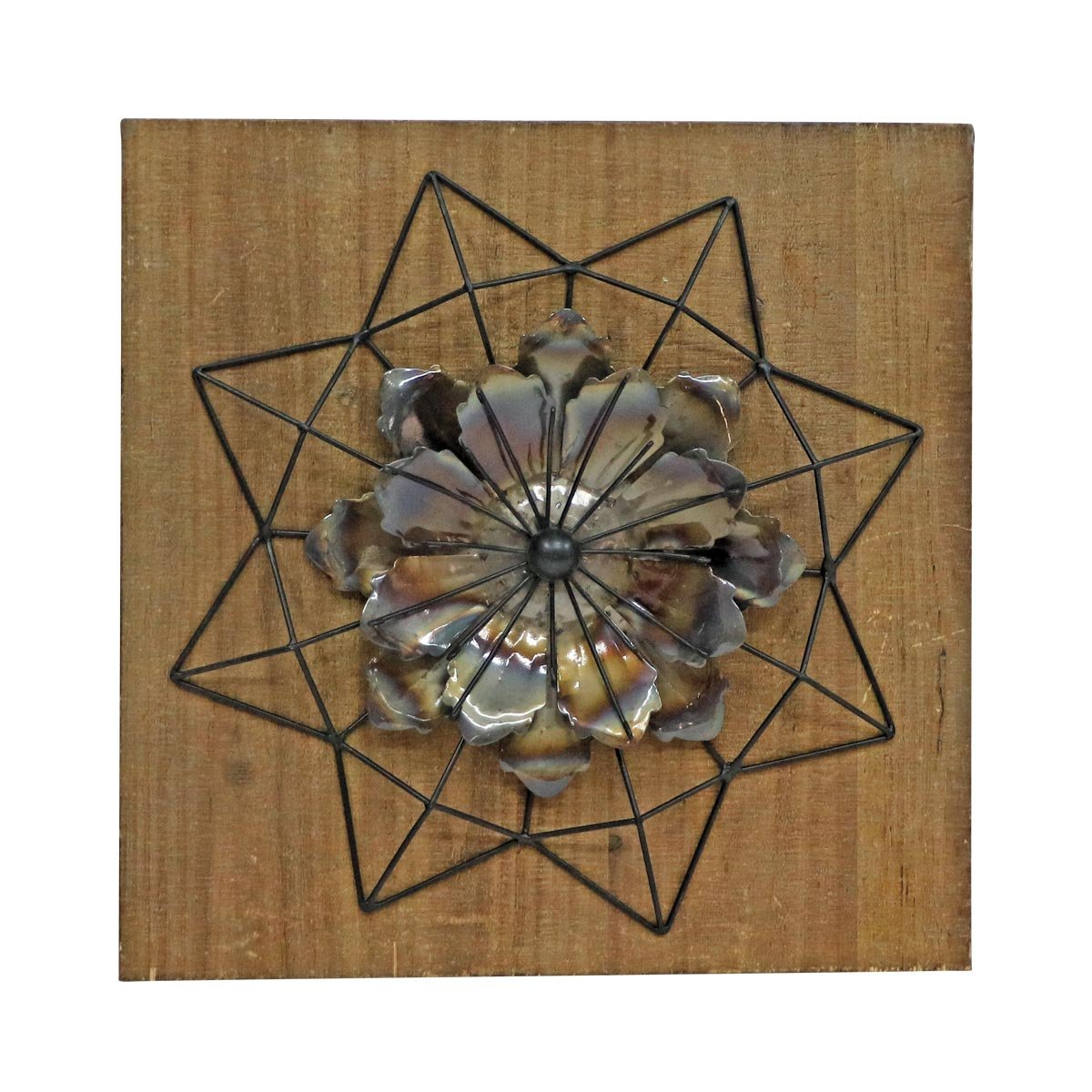 Amazon.com: Foreside Home & Garden Geo Flower Burst Wall Art: Home ...