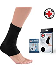 Doctor Developed Ankle Brace/Compression Sleeve/Ankle Support - & Doctor Written Handbook - Protector/Guard with Silicon Gel Pad for Foot Support [Single] (Black, M)