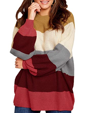 Valphsio Womens Striped Sweaters Pullover Oversized Chunky Crew Neck Color  Block Jumpers at Amazon Women s Clothing store  de08f8ce4