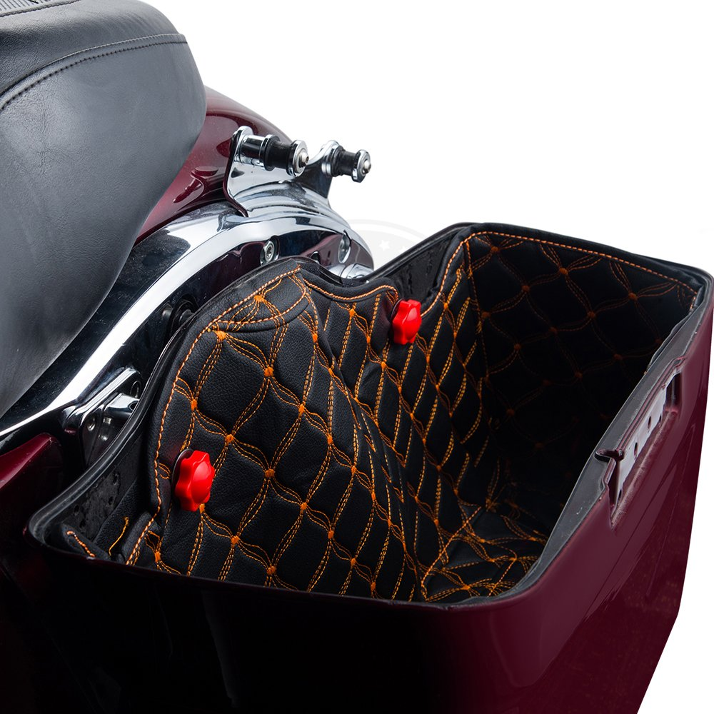 Aftermarket 4 1//2 inch Extended Hard Bottoms US Stock Red Thread Stitching Stretched Saddlebags Liners Extended Bag Inserts Fit for 2014