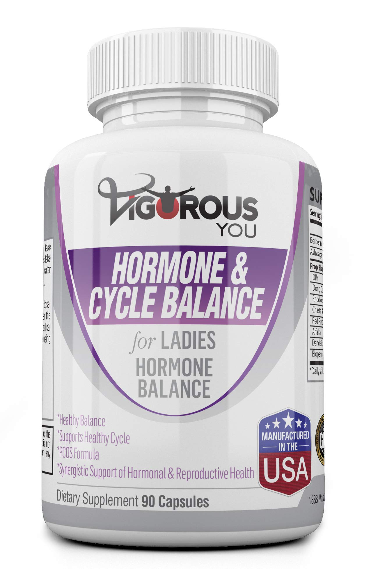 Hormone Balance for Women Ayurvedic. PCOS. Supports Reproductive Health, PMS Relief, Menopause Relief, DIM, Dong Quai, Ashwagandha. Berberine, Chasteberry, 1,500 MG