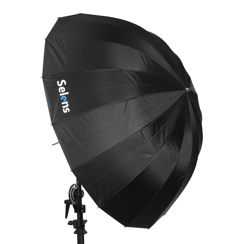 Selens 65 Inch 16 Rods Professional Photography Photo Studio Parabolic Reflective Lighting Umbrella, 23 Inch Depth Black/Silver by Selens (Image #4)
