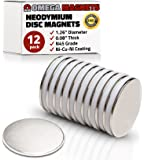 "Strong Neodymium Disc Magnets (12 Pack) - Powerful, Small, Round, Rare Earth Magnets - N45 Industrial Strength NdFeB Magnet Set for Fridge, DIY, Crafts - 1.26"" x 0.08"""