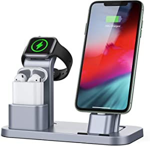 Conido Charging Station for Apple Products, 3 in 1 Charging Dock for Apple Watch SE 6 5 4 3 2 1, Charging Stand for AirPods 1 2 iPhone SE New 11 Pro Max XR XS Max X 8 Plus 7 Plus 6S Plus 5 5S SE 5C