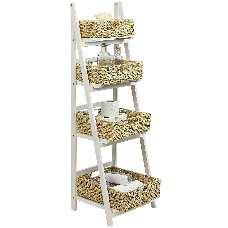 Hartleys 4 Tier White Ladder Shelf with Natural Wicker Basket Set