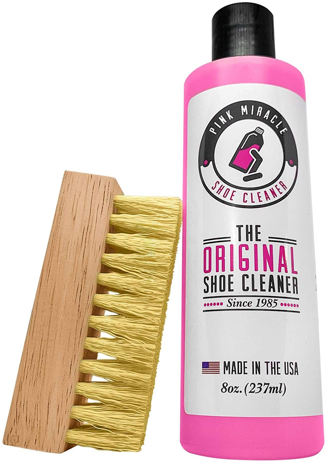 Pink Miracle Shoe Cleaner Kit 8 Oz. Bottle Fabric Cleaner for Leather, Whites, and Nubuck Sneakers