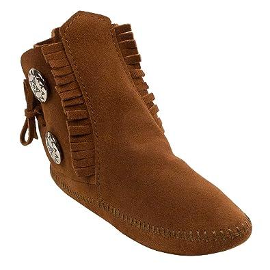 Minnetonka Women/'s Two Button Boot 10 Hardsole Brown Suede