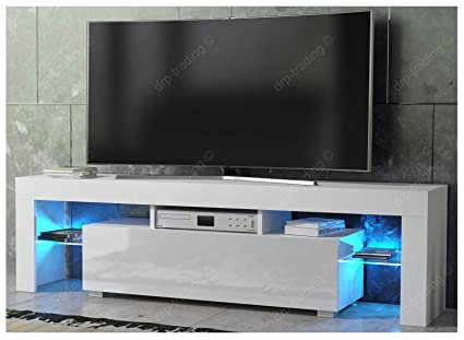 outlet store 03999 aa9f2 DRP Trading Modern TV Unit 160cm Cabinet White Matt and White High Gloss  FREE LED RGB Lights
