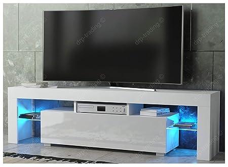 DRP Trading Modern TV Unit 160cm Cabinet White Matt And High Gloss FREE LED RGB