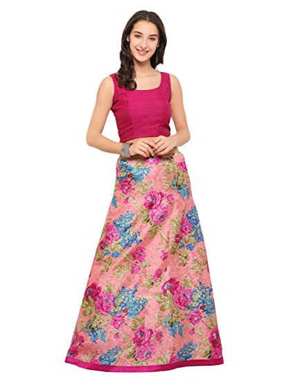 f39e593b41 Inddus Women's Chanderi Cotton Blend Semi-Stitched Crop Top with Lehenga  (IND-ILC-1001, Pink, Free Size): Amazon.in: Clothing & Accessories