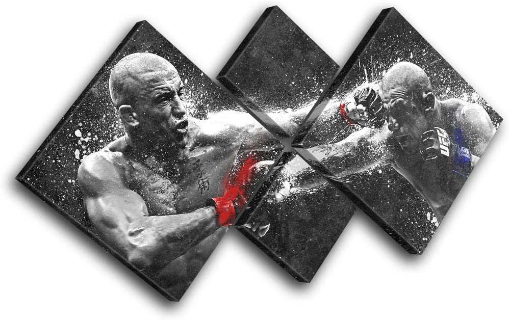 Bold Bloc Design - Georges St Pierre Alves UFC MMA Sports 170x85cm Multi Canvas Art Print Box Framed Picture Wall Hanging - Hand Made in The UK - Framed and Ready to Hang