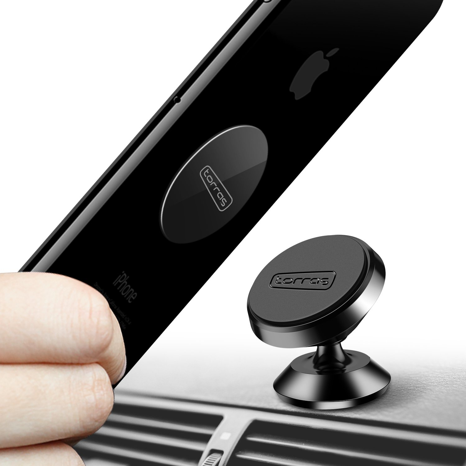 TORRAS Magnetic Car Mount, 360° Rotation Car Phone Holder for Dashboard Cell Phone Cradle Mount Compatible with iPhone Xs/Xs Max/XR/X / 8/7 Samsung Galaxy Note 9 / S9 / S9+ Plus / S8 and More