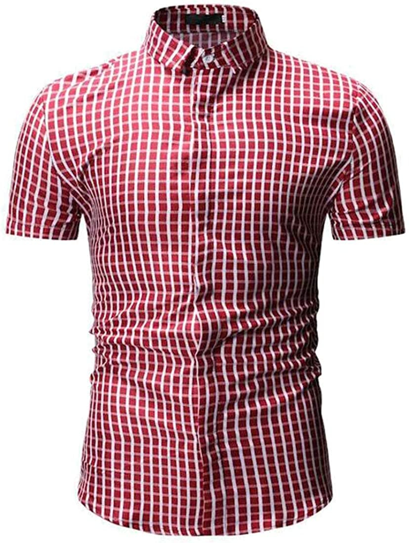 Domple Mens Short Sleeve Button Up Checkered Slim Casual Dress Shirts