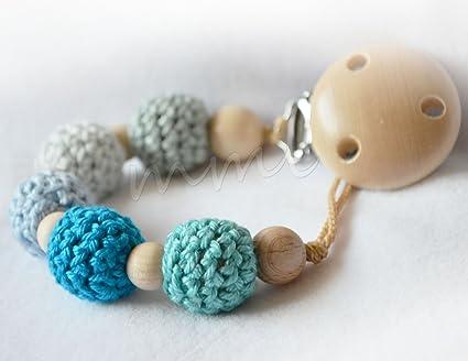 Cadena para chupete con 5 perlas de ganchillo en azul: Amazon.es: Bebé